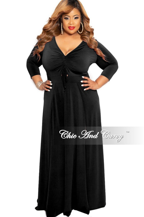 New Plus Size Ruched Maxi Dress with Double Slits in Black