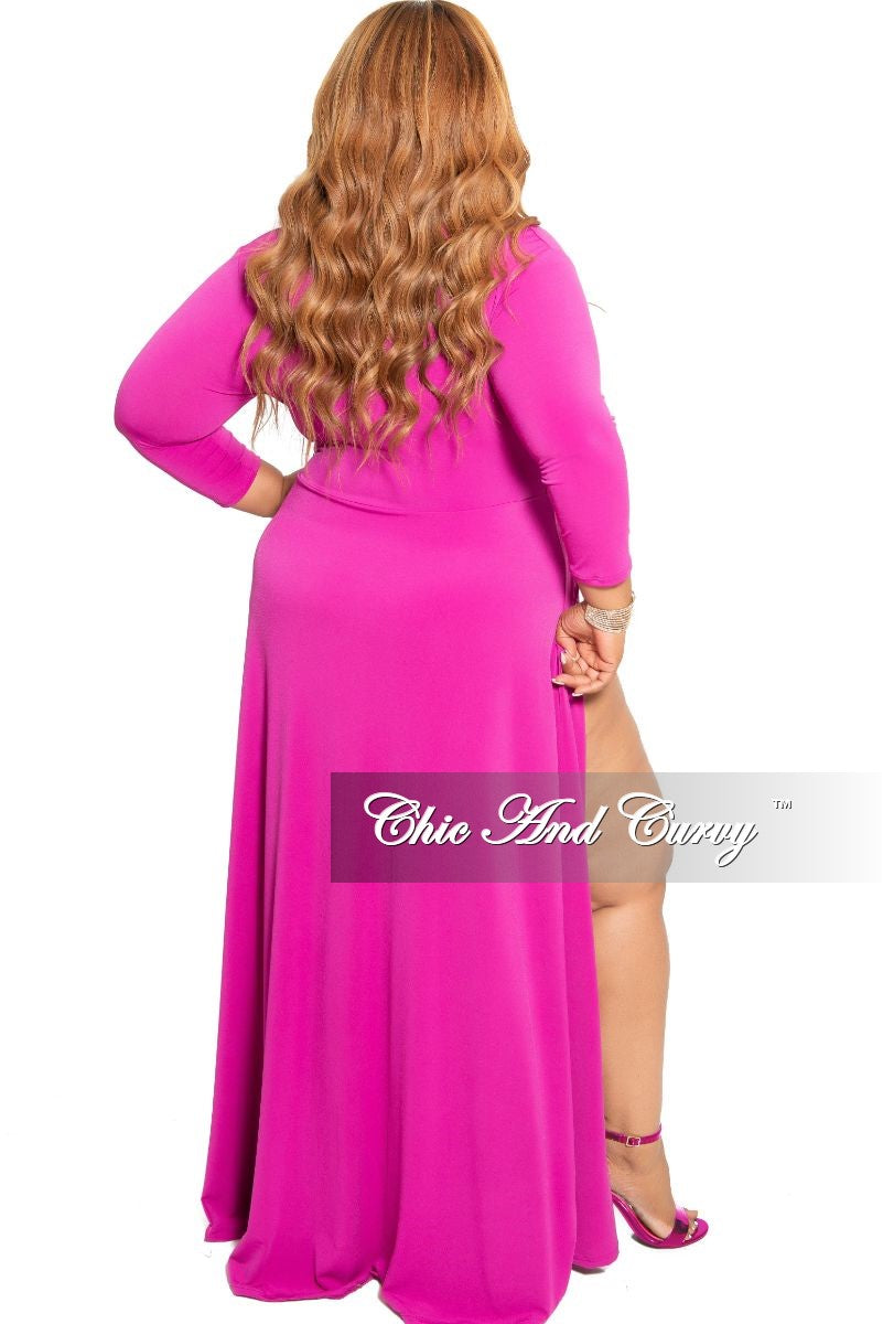 34856e8ce20 New Plus Size Ruched Maxi Dress with Double Slits in Fuchsia – Chic ...