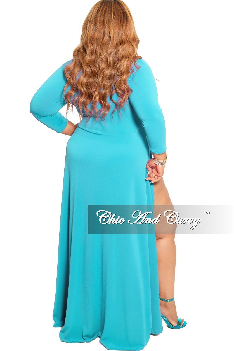New Plus Size Ruched Maxi Dress with Double Slits in Teal