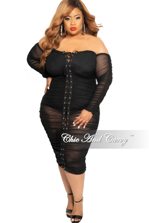 Final Sale Plus Size Mesh Off the Shoulder Lace Up BodyCon Dress in Black