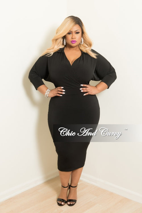 New Plus Size Collared Faux Wrap BodyCon Dress with 3/4 Sleeves in Black
