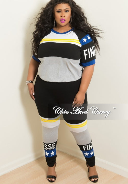 New Plus Size 2-Piece Colorblocked Star Finesse Top and Pants Set in Royal Blue Black Grey Yellow and White