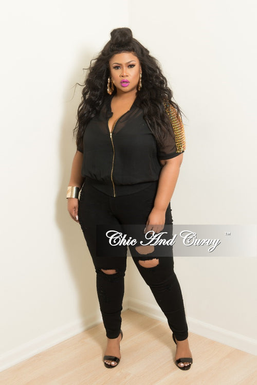 Final Sale Plus Size Mesh Zip-Up Top with Multi Colored Stones in Black