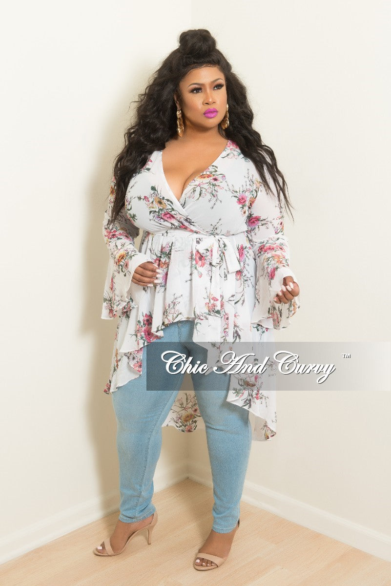 Final Sale Plus Size Faux Wrap High-Low Top with Bell Sleeves in White Floral Print