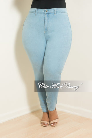 New Plus Size Distressed Jeans in Light Pink