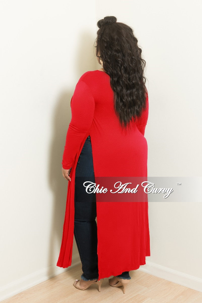 New Plus Size Long Kimono with Split Sides in Red