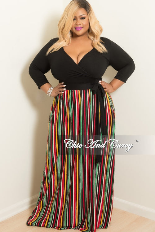 New Plus Size Maxi Dress with Black Wrap Top and Tie in Blue or Red Multi Color Striped Print