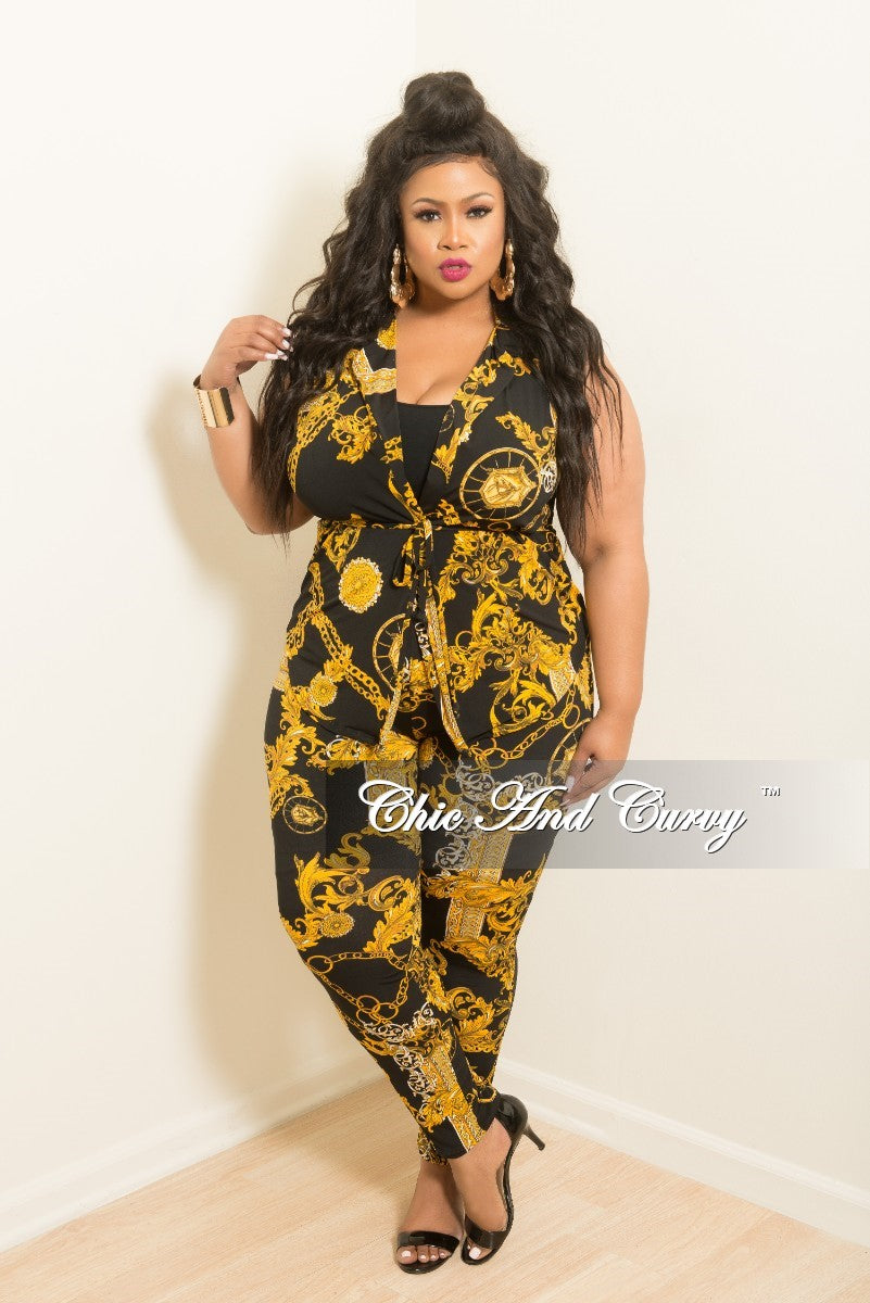 New Plus Size Chain Printed 2-Piece Sleeveless Collar Top and Pants Set in Black and Gold