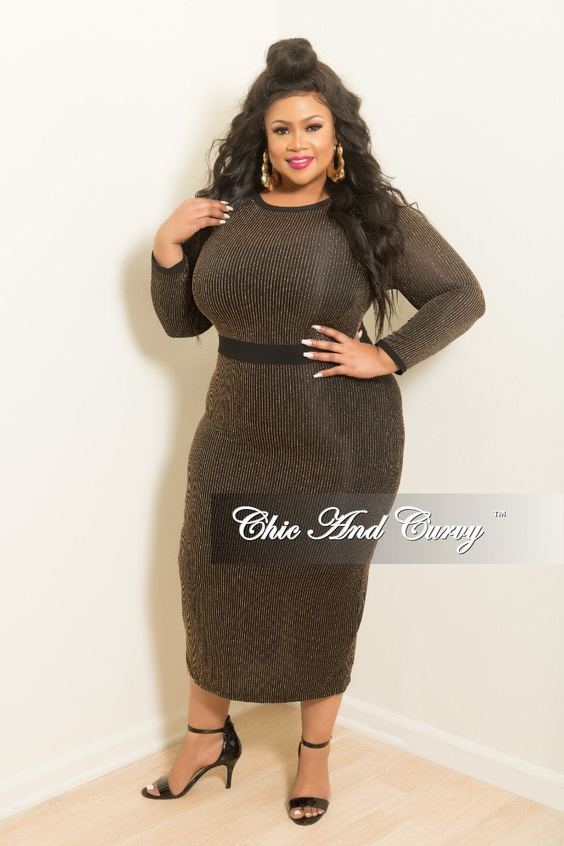 New Plus Size Bodycon Dress With Back Slit In Black And Gold Chic