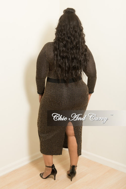 Final Sale Plus Size BodyCon Dress with Back Slit in Black and Gold