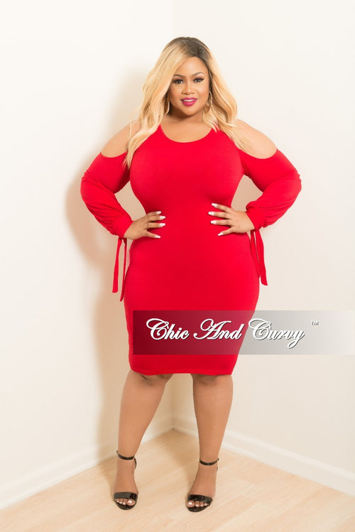 Final Sale Plus Size Cold Shoulder BodyCon Dress with Tie Sleeves in Red