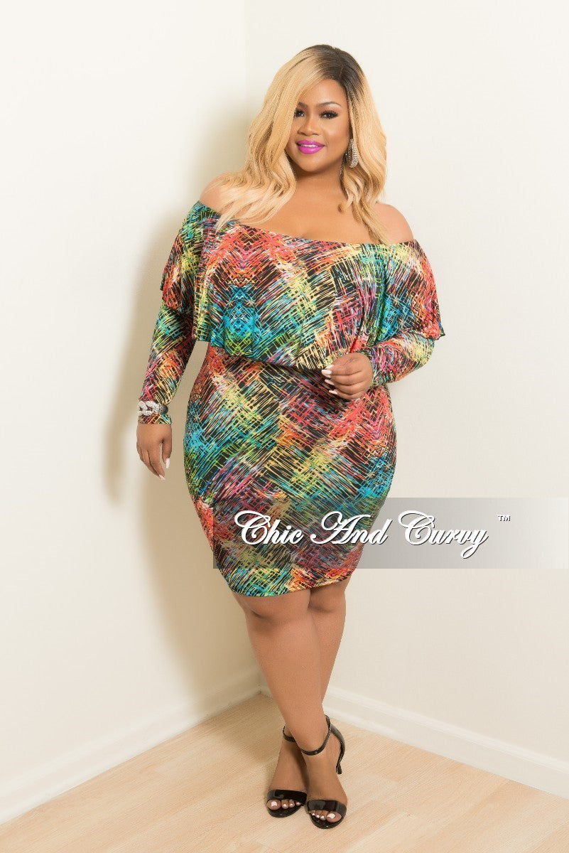 New Plus Size Ruffle Bodycon Off the Shoulder Short Dress in Multi Colored Print