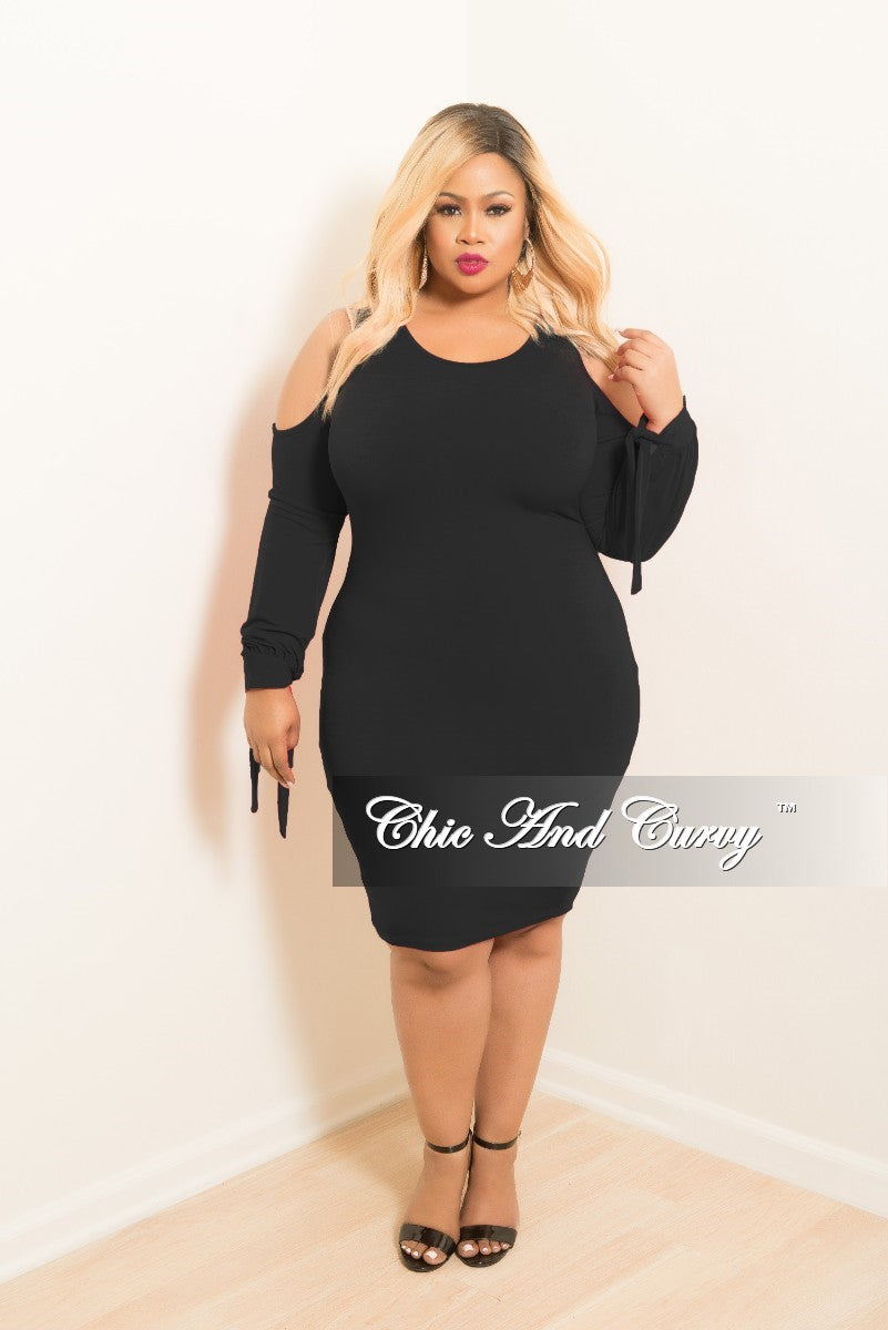 New Plus Size Cold Shoulder BodyCon Dress with Tie Sleeves in Black