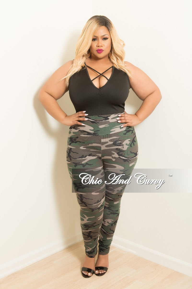 fe8e2ce634c03a Final Sale Plus Size Leggings in Camouflage Print – Chic And Curvy