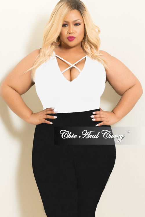 Final Sale Plus Size Crisscross Bodysuit in White