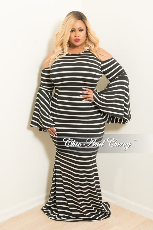 New Plus Size Stripe Cold Shoulder Gown with Bell Sleeves in Black and White