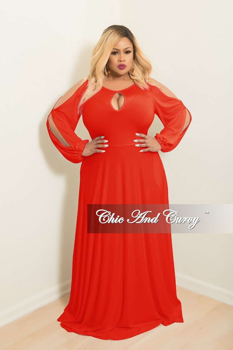2ce83e9b305b Final Sale Plus Size Long Gown with Front Key-Whole Slit Sleeves and A –  Chic And Curvy