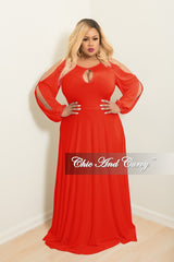 Final Sale Plus Size Long Gown with Front Key-Whole Slit Sleeves and Attached Tie in Red