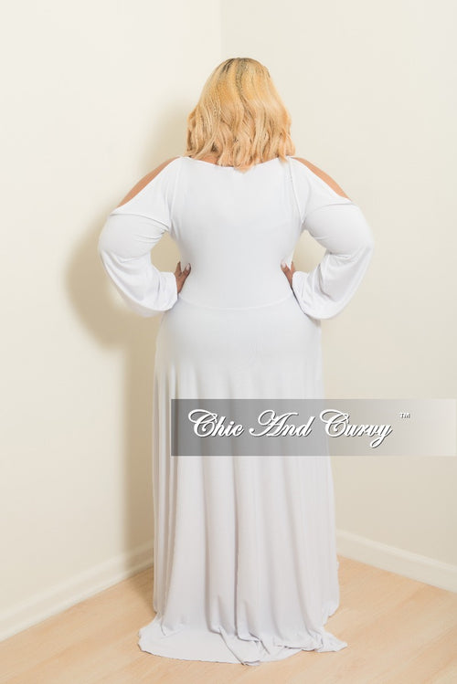 Final Sale Plus Size Long Dress with Front Key-Whole Slit Sleeves and Attached Tie in White