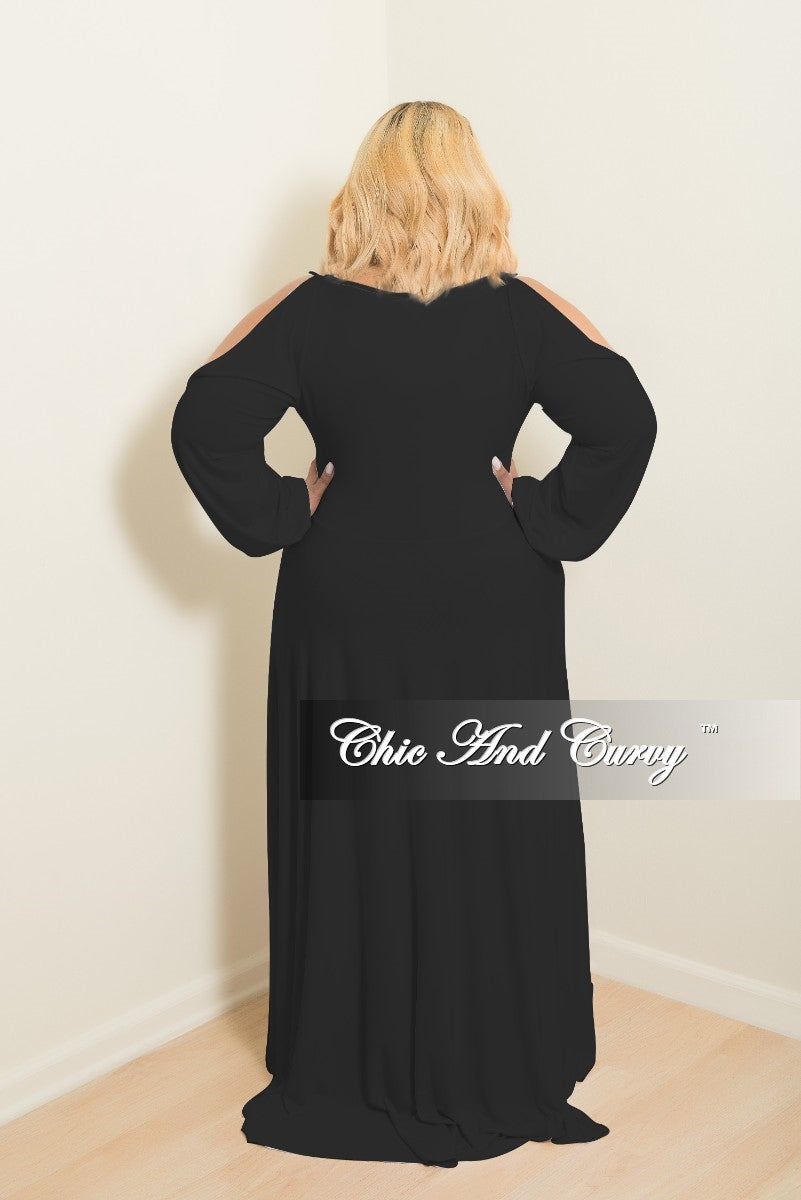 Final Sale Plus Size Long Dress with Front Key-Whole Slit Sleeves and Attached Tie in Black