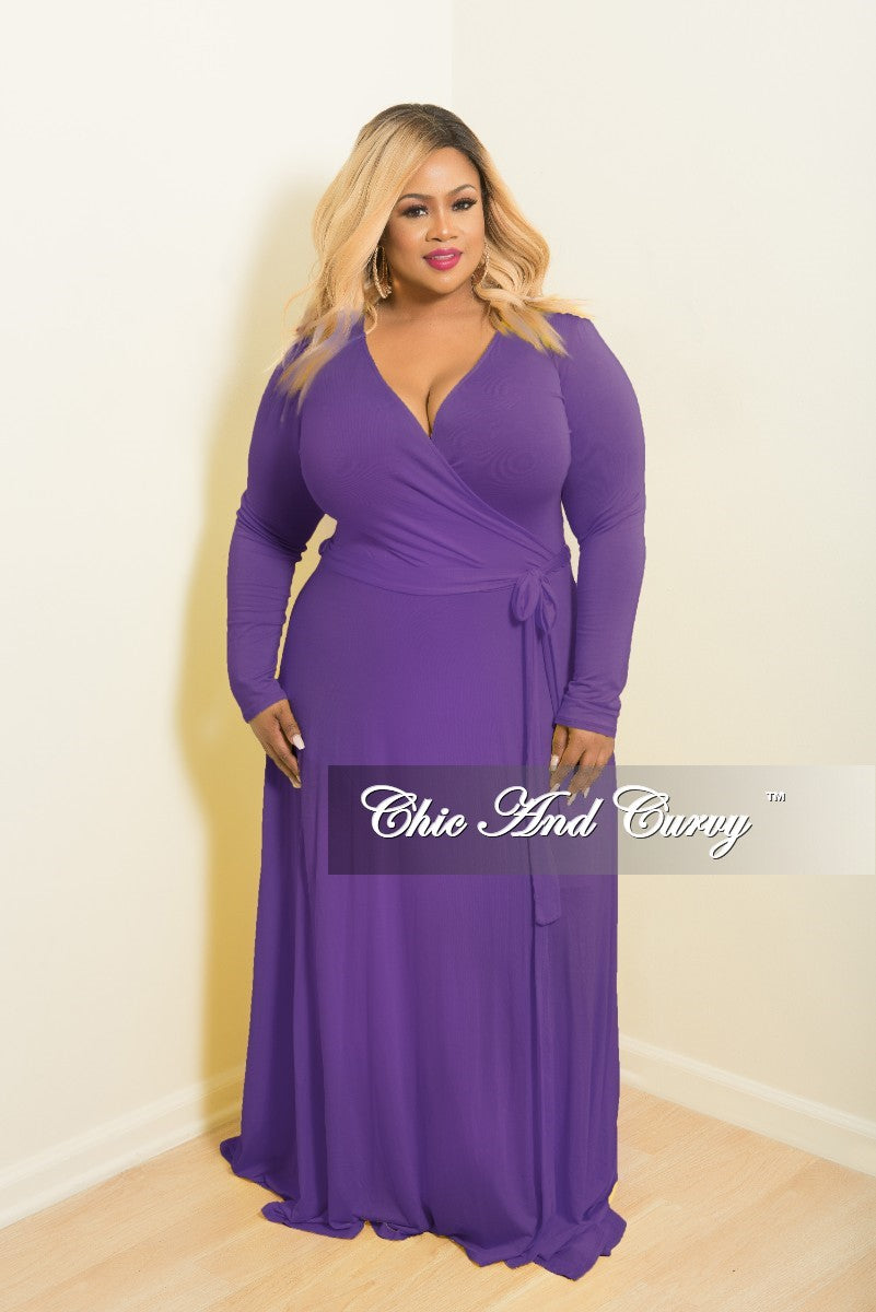 New Plus Size Long Wrap Dress w/ Tie in Purple – Chic And ...