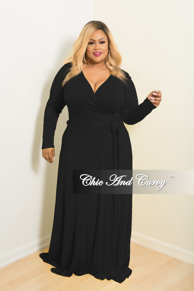 2c0e38d4348f New Plus Size Long Wrap Dress w/ Tie in Black – Chic And Curvy