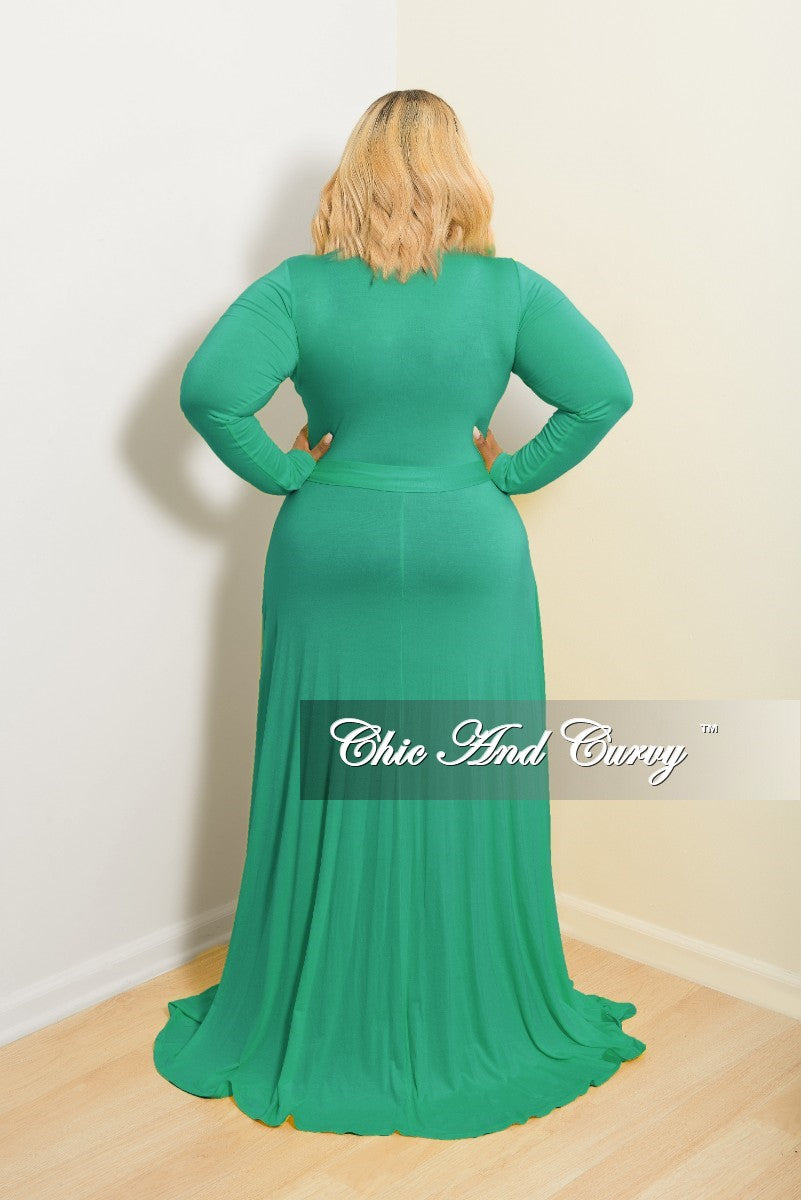 New Plus Size Long Wrap Dress w/ Tie in Green
