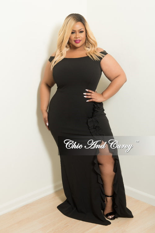 Final Sale Plus Size Off the Shoulder Dress with Side Ruffle and Front Slit in Black