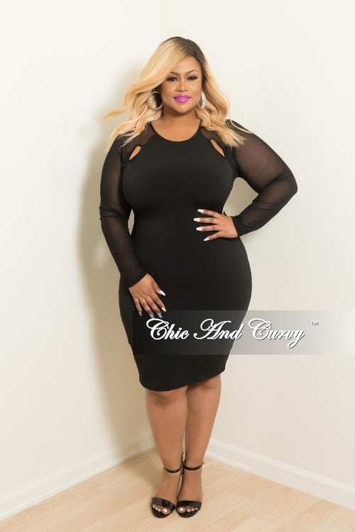 New Plus Size BodyCon with Shoulder Cutout and Mesh Sleeves in Black