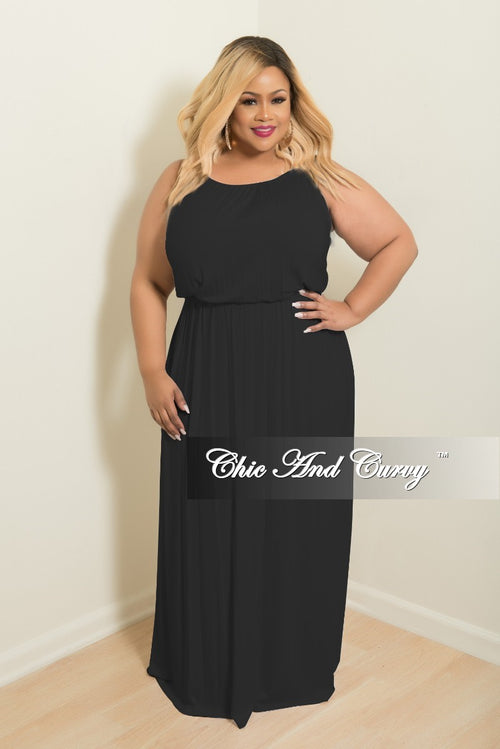 Final Sale Plus Size Floor Length Halter Maxi Dress in Black