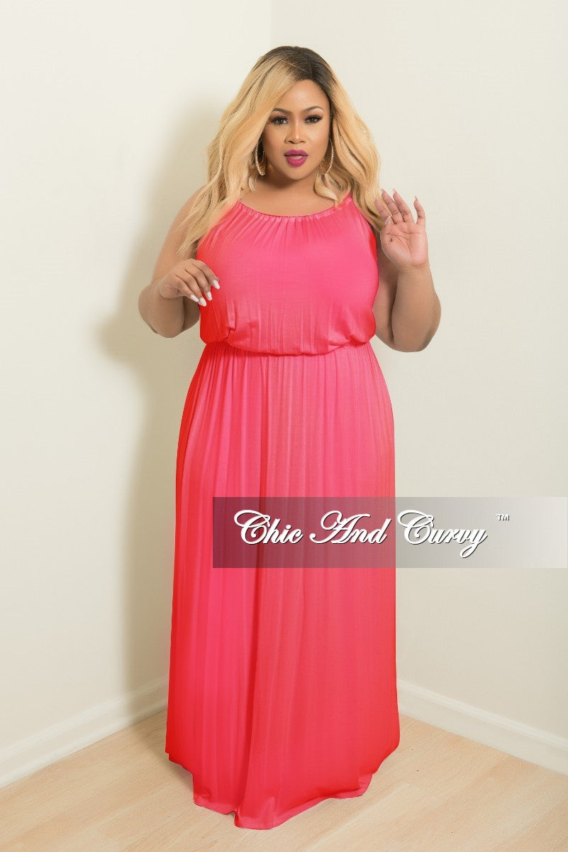 New Plus Size Floor Length Halter Maxi Dress in Hot Pink