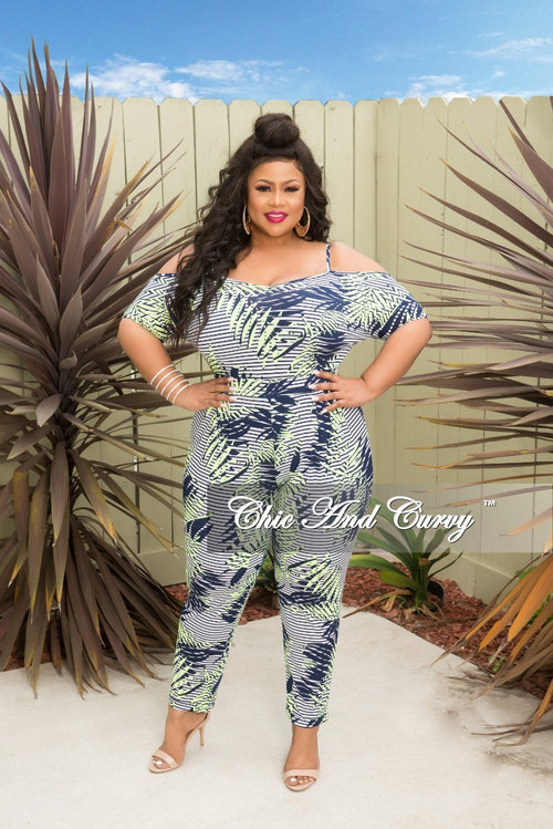New Plus Size Cold Shoulder Stripe Jumpsuit in Neon Green White and Navy