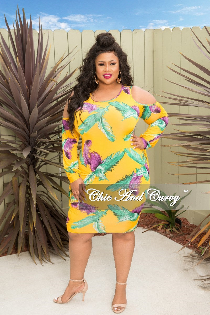 Final Sale Plus Size Leaf Printed Cold Shoulder BodyCon Dress with Tie Sleeves in Mustard Green and Purple