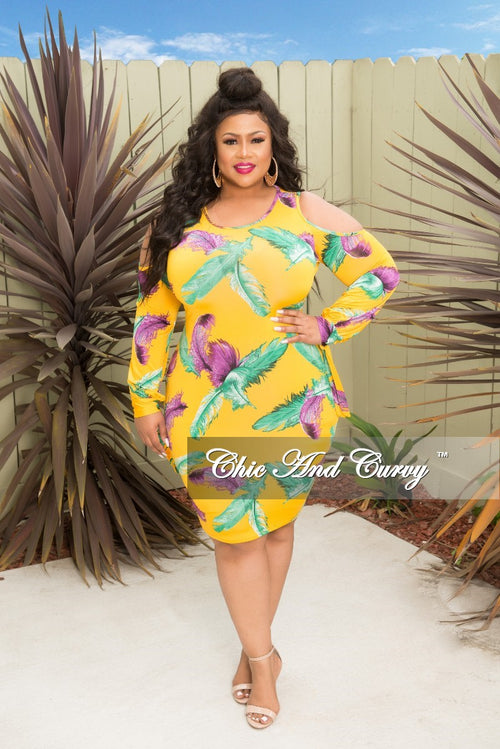 New Plus Size Leaf Printed Cold Shoulder BodyCon Dress with Tie Sleeves in Mustard Green and Purple