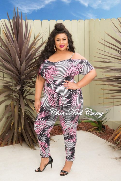 New Plus Size Cold Shoulder Stripe Jumpsuit in Neon Pink White and Black