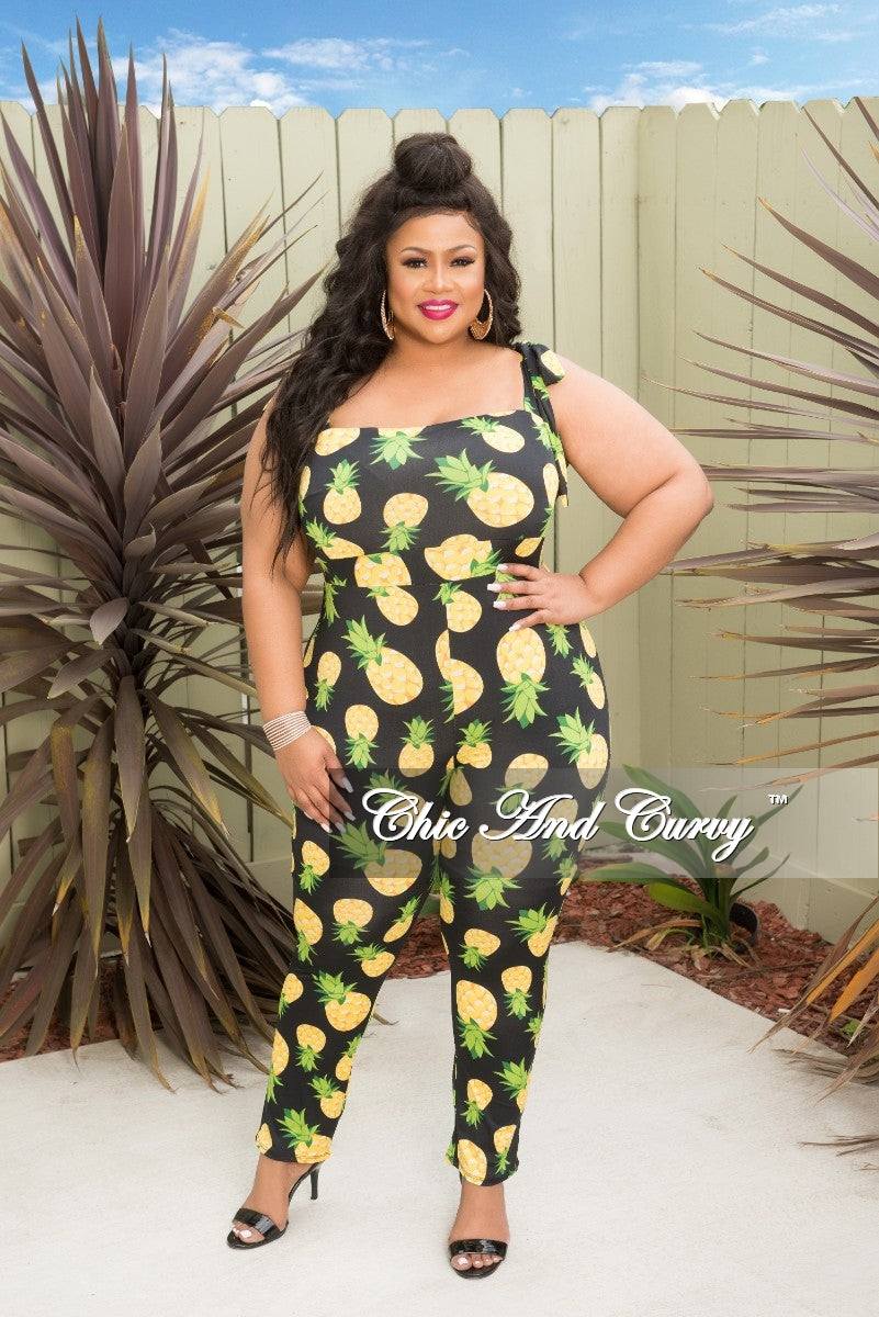 Final Sale Plus Size Jumpsuit with Shoulder Tie in Black and Pineapple Print