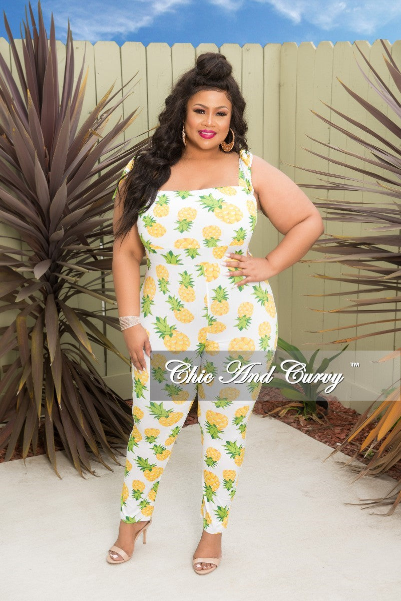 Final Sale Plus Size Jumpsuit with Shoulder Tie in White and Pineapple Print