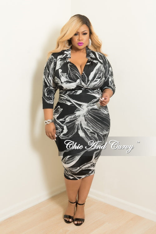 New Plus Size Collared Faux Wrap BodyCon Dress with 3/4 Sleeves in Black and White