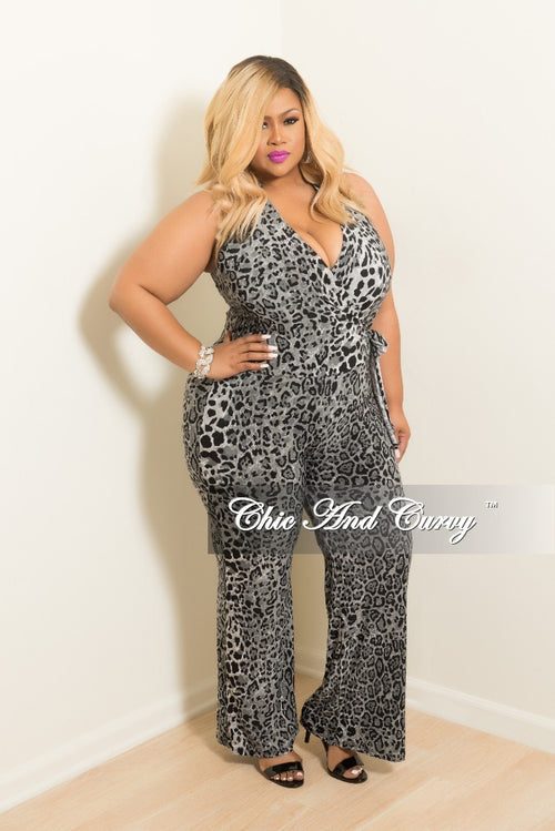 Final Sale Plus Size Faux Wrap Halter Top Jumpsuit in Black and Grey Animal Print