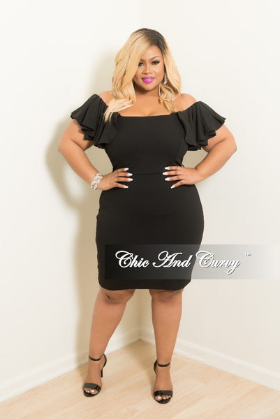 New Plus Size Ruffle Off the Shoulder BodyCon Dress in Black