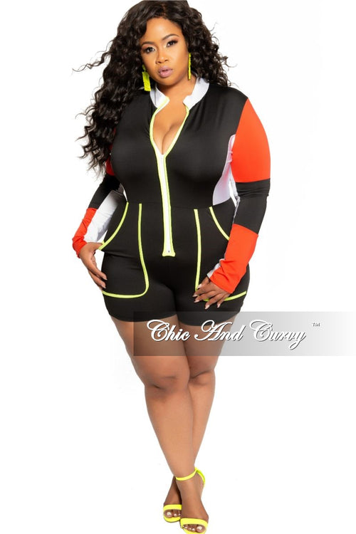 Final Sale Plus Size Long Sleeve Romper in Black White Red and Neon Green