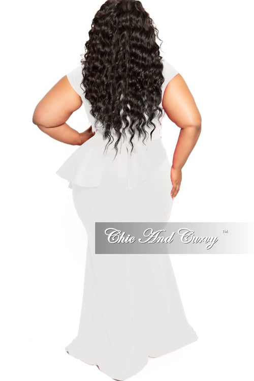 Final Sale Plus Size Cap Sleeve Gown with Asymmetrical Ruffle Peplum in White