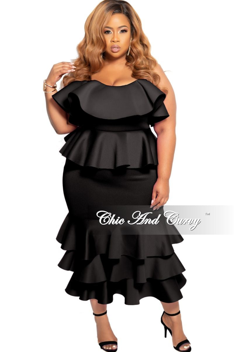 New Plus Size Strapless Layered Ruffle BodyCon Peplum Dress in Black