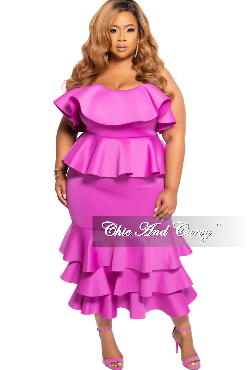 New Plus Size Strapless Layered Ruffle BodyCon Peplum Dress in Fuchsia