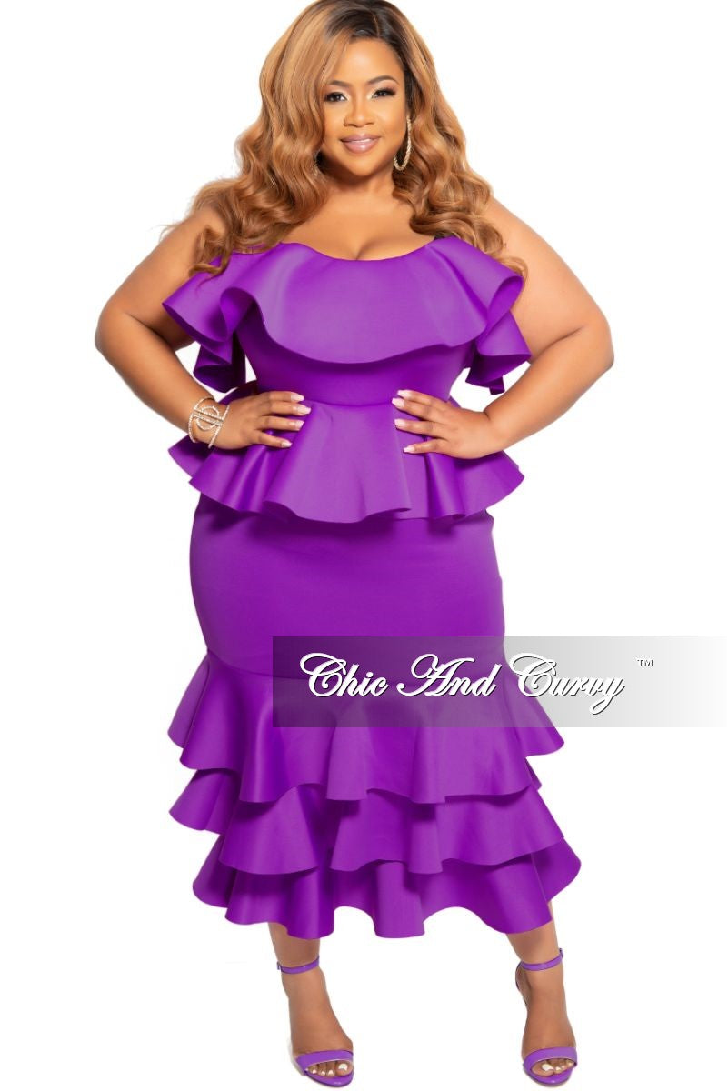 New Plus Size Strapless Layered Ruffle BodyCon Peplum Dress in Purple