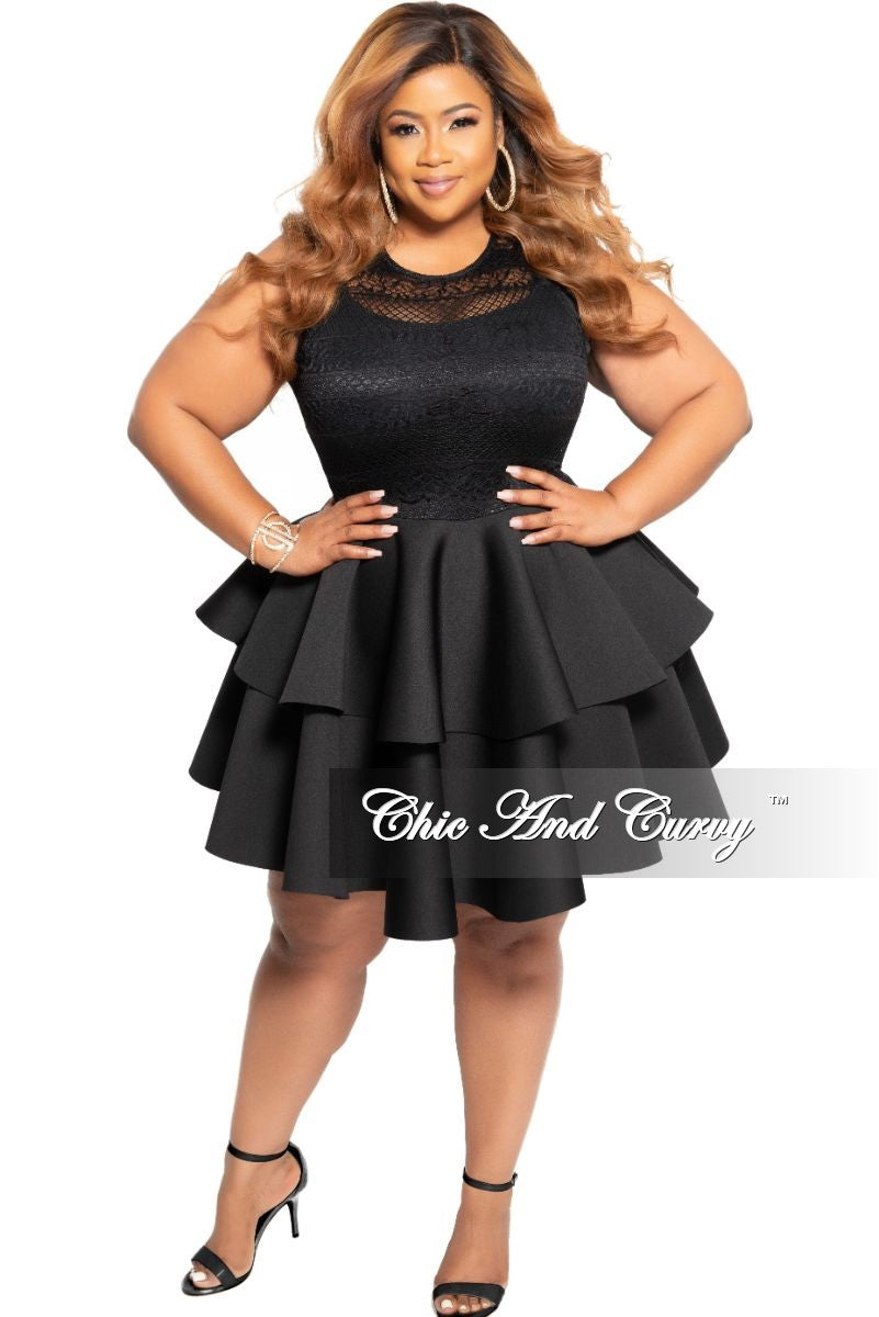 New Plus Size Sleeveless Lace Top and Layered Ruffle Bottom Dress in Black