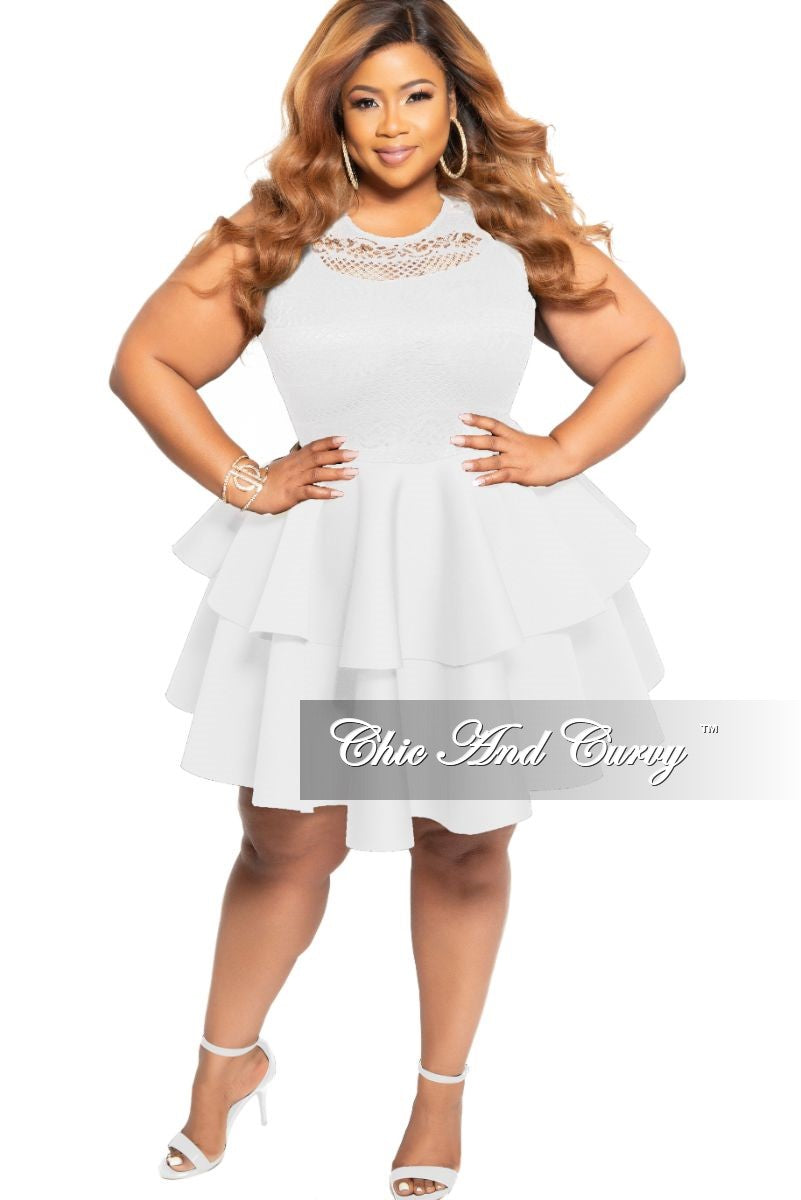 Final Sale Plus Size Sleeveless Lace Top and Layered Ruffle Bottom Dress in Ivory