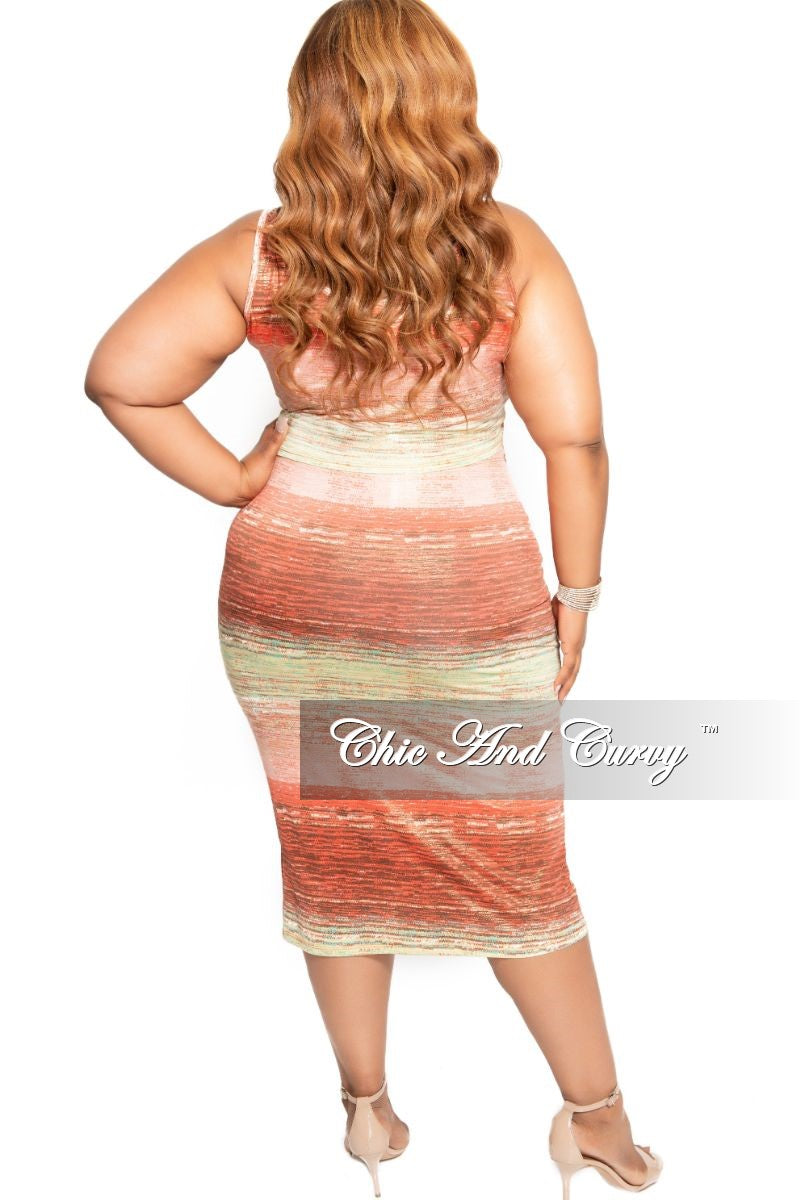 New Plus Size 2-Piece Crop Top and Waist Tie Skirt Set in Pink Red Green Gold and Orange Foil Print