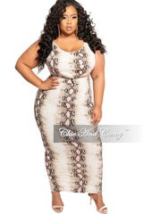 New Plus Size 2-Piece Sleeveless Tie Crop Top and High Waist Pencil Skirt Set in Pink Snake Skin Print