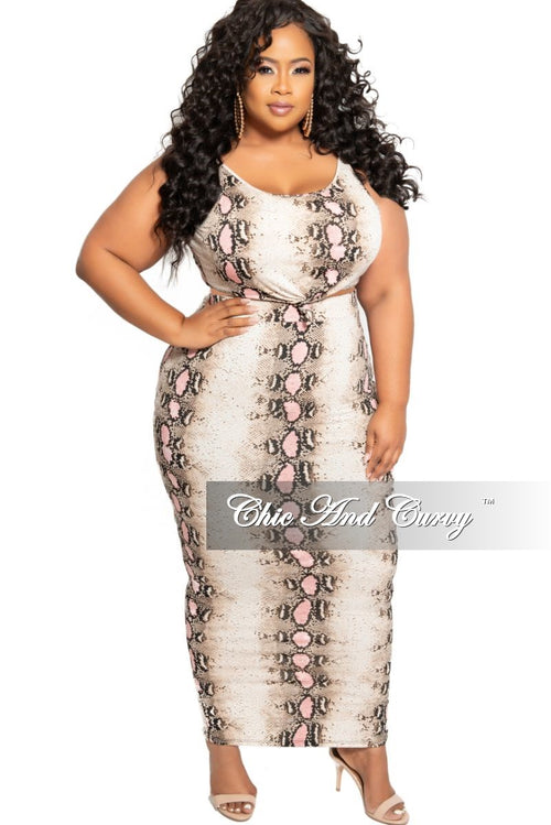 Final Sale Plus Size 2-Piece Sleeveless Tie Crop Top and High Waist Pencil Skirt Set in Pink Snake Skin Print